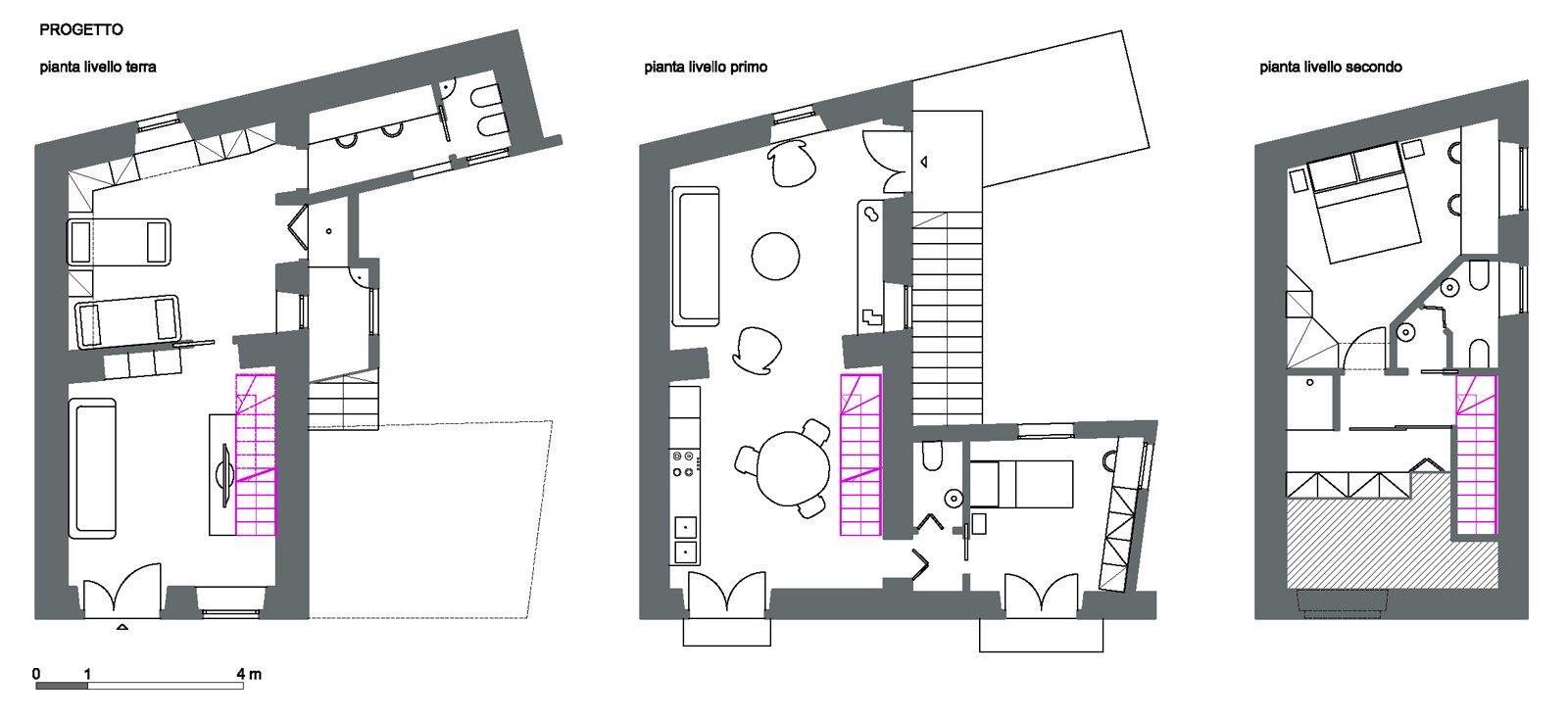 Progetto in pianta e 3d della casa su 3 livelli cose di casa for 3 piani casa 3 bagni