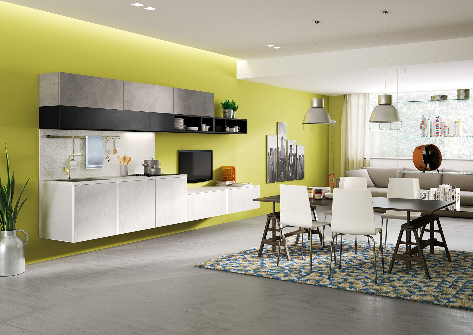 cucine a vista per il loft, nel soggiorno open space - cose di casa - Soggiorno Cucina 40 Mq