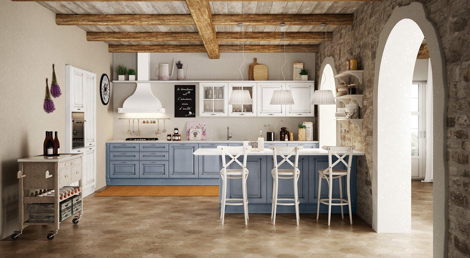 Azzurro Polvere E Bianco Latte Per Athena Di Berloni La Cucina Dal  #976834 1600 879 Immagini Di Cucine Arte Povera