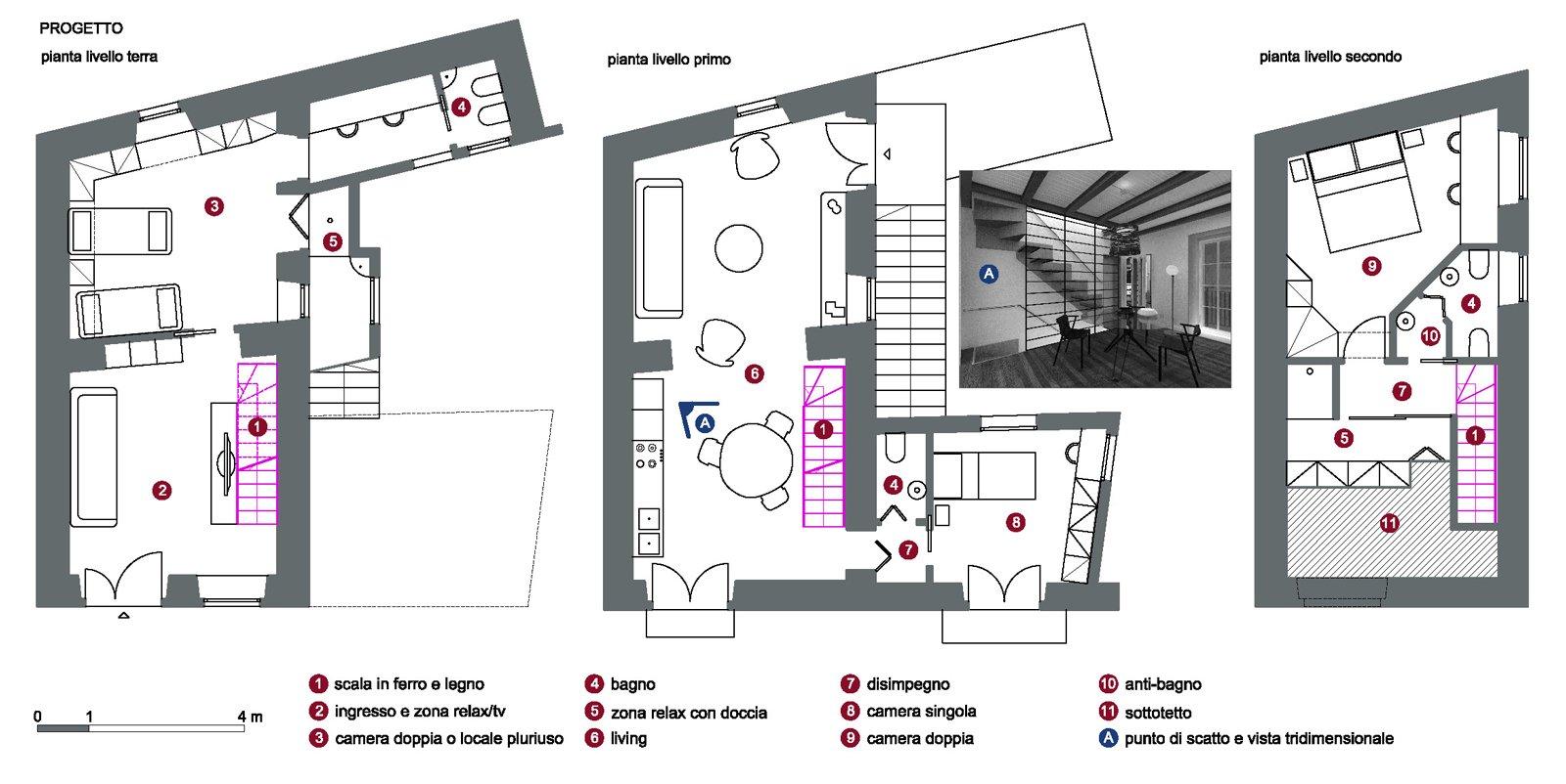 Progetto in pianta e 3d della casa su 3 livelli cose di casa for Immagini progetti case