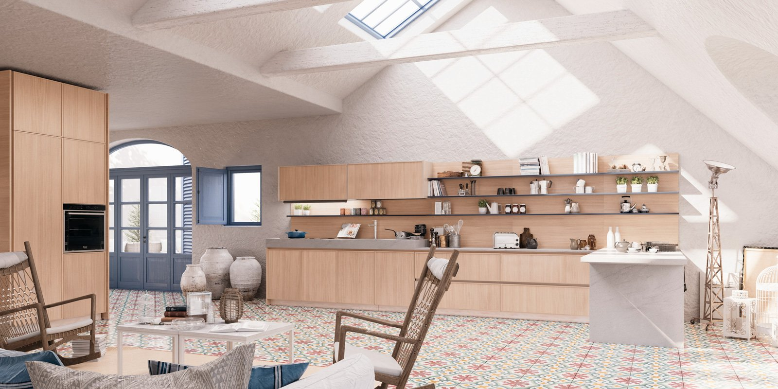 Cucine a vista per il loft nel soggiorno open space for Soggiorno creta