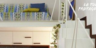 Un mini appartamento di 50 mq che sfrutta l'altezza dei soffitti