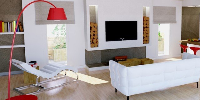Un progetto per arredare un soggiorno con pareti oblique for Soluzioni di arredo per soggiorni