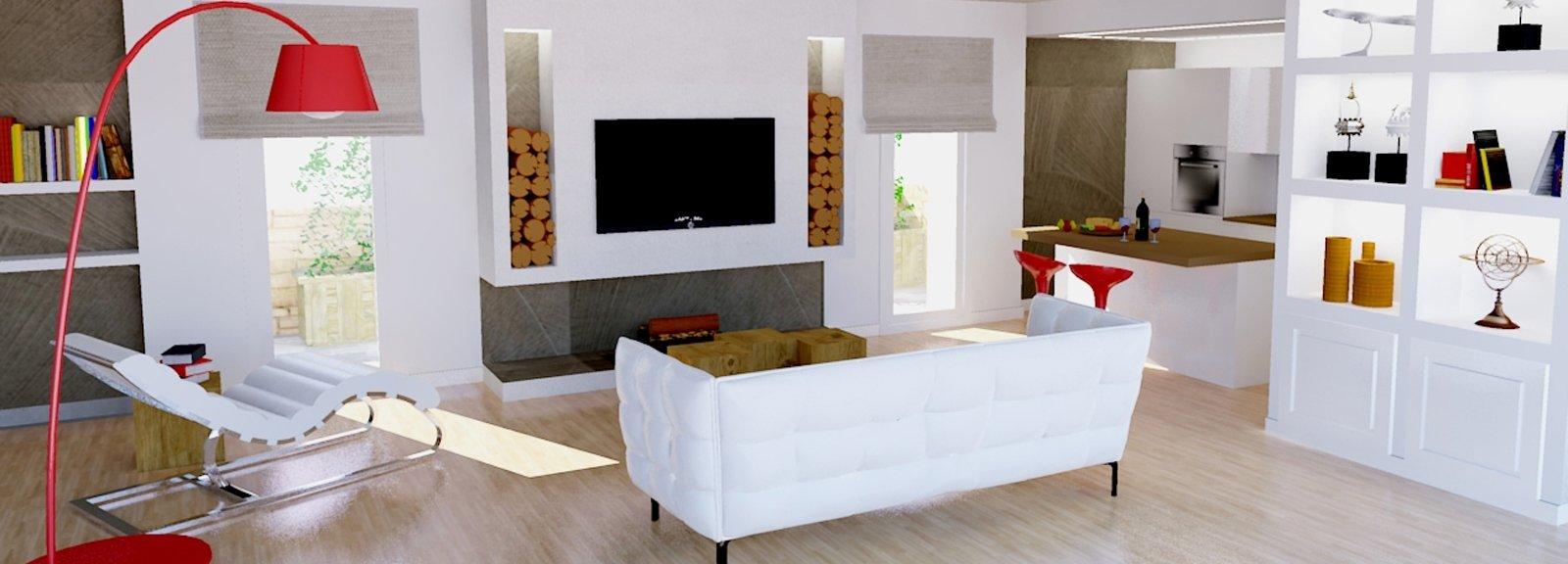 Un progetto per arredare un soggiorno con pareti oblique for Pareti salone