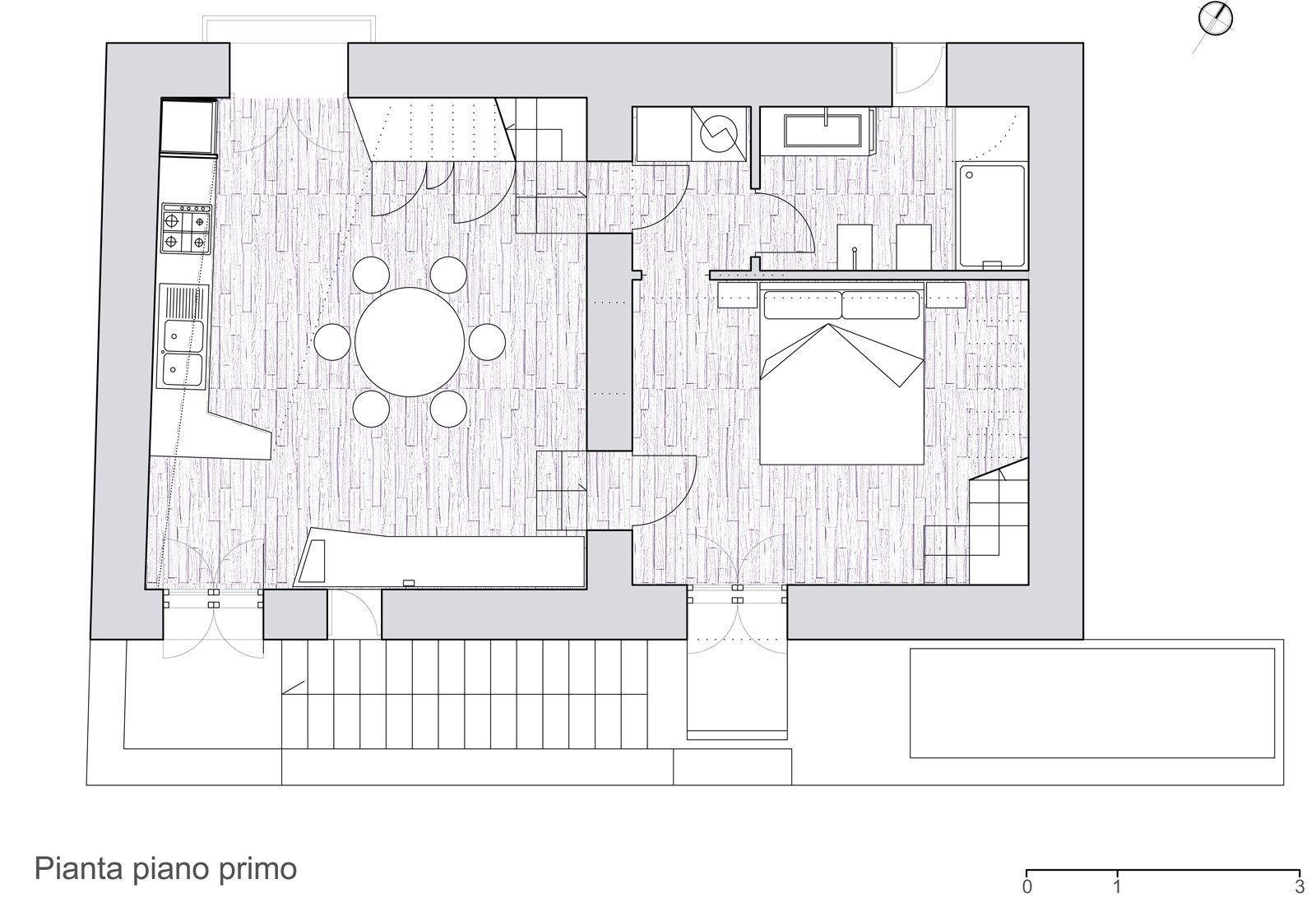 Un mini appartamento di 50 mq che sfrutta l 39 altezza dei for Pianta casa 70 mq