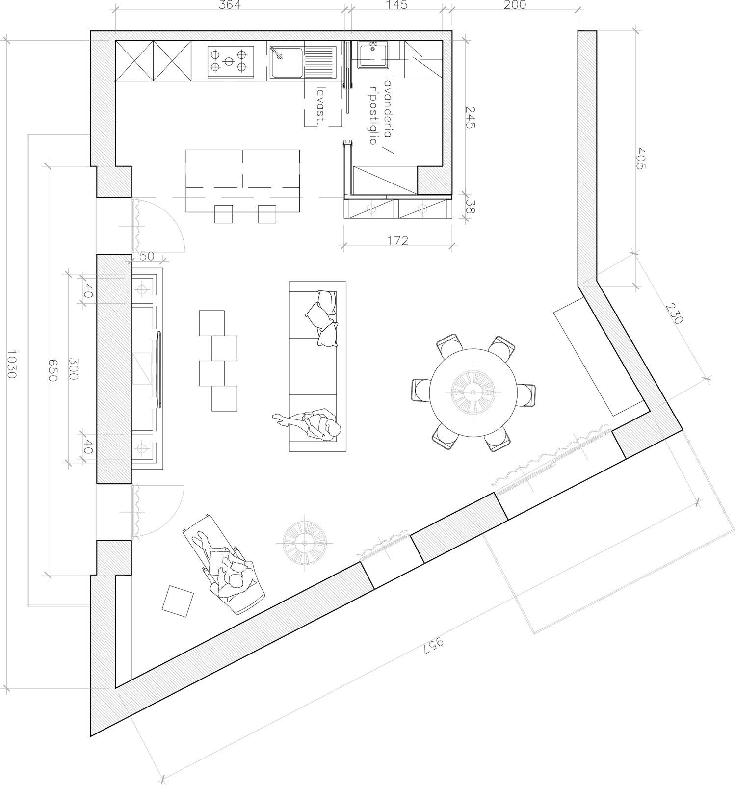 Progetto sogg open space cose di casa for Cucina open space con pilastri
