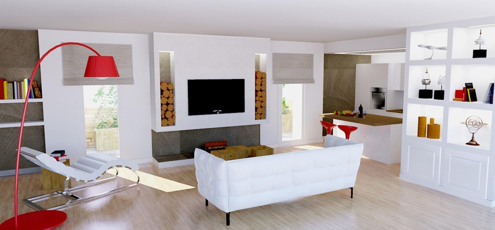 Un progetto per arredare un soggiorno con pareti oblique for Arredare parete