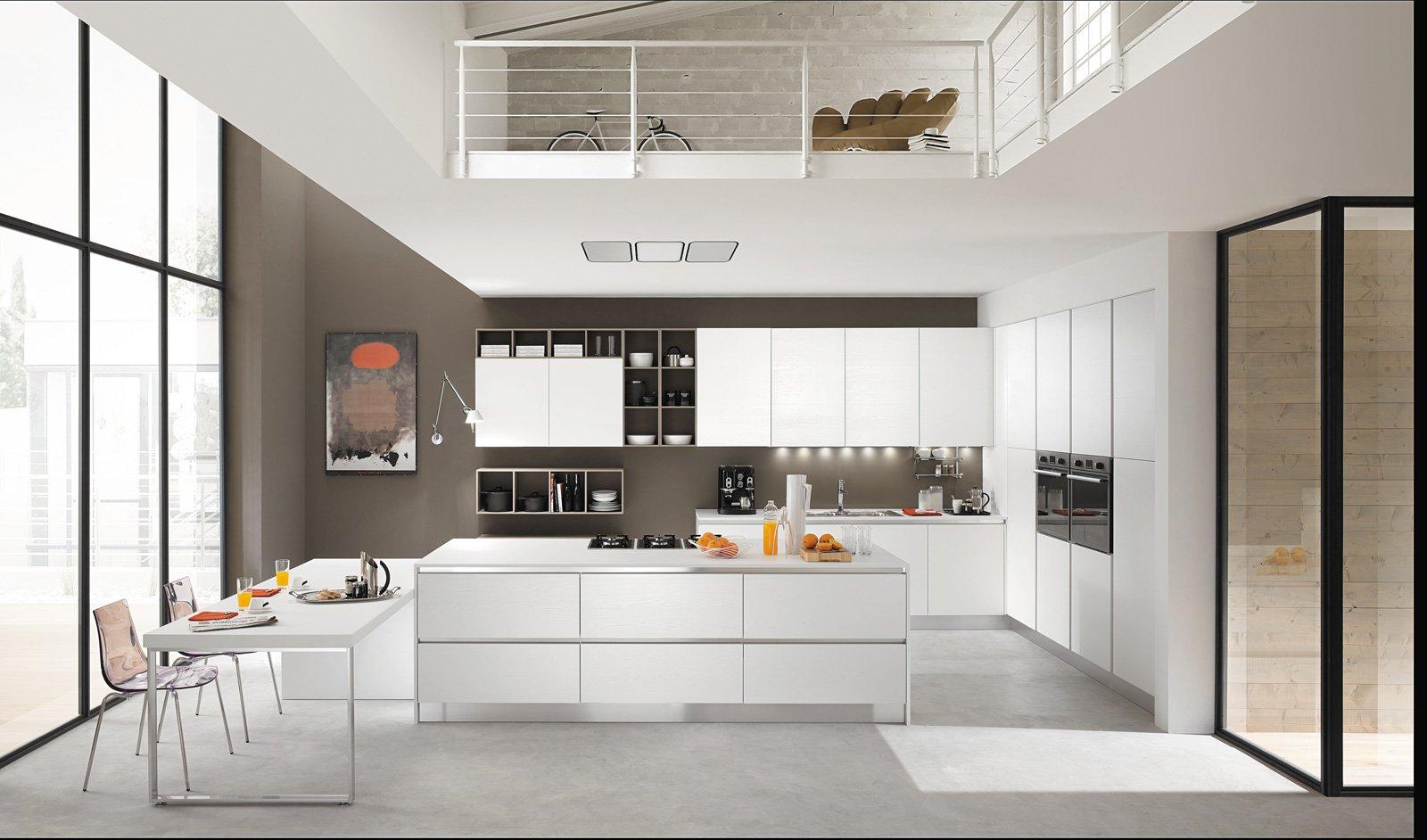Tanto bianco e la cucina raddoppia visivamente cose di casa - Cucina bianca e legno ...