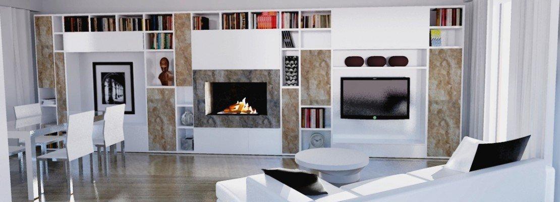 Parete attrezzata per il living cose di casa for Parete attrezzata con camino e tv