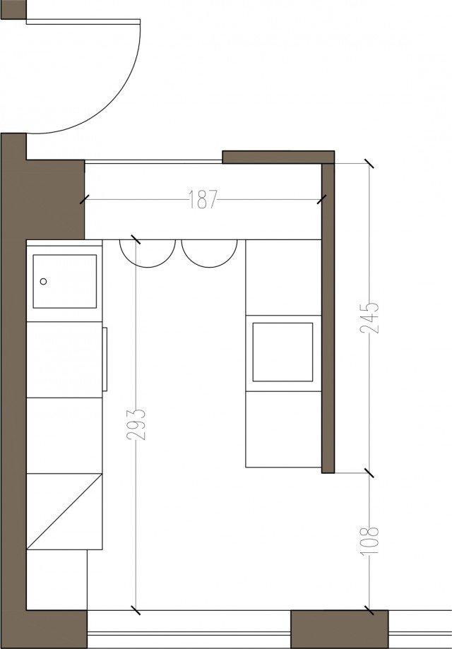 Arredamento cucine piccole un progetto per meno di 6 mq - Pianta di una cucina ...