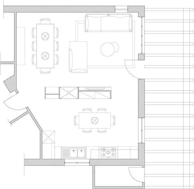 Come dividere cucina e soggiorno un progetto in 3d cose - Cucina muratura progetto ...