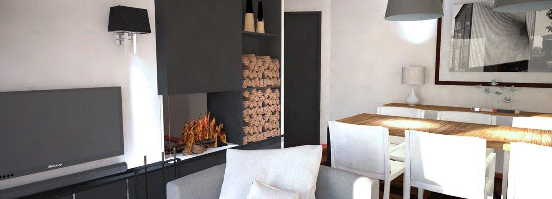 come dividere cucina e soggiorno? un progetto in 3d - cose di casa - Soggiorno Cucina Con Camino