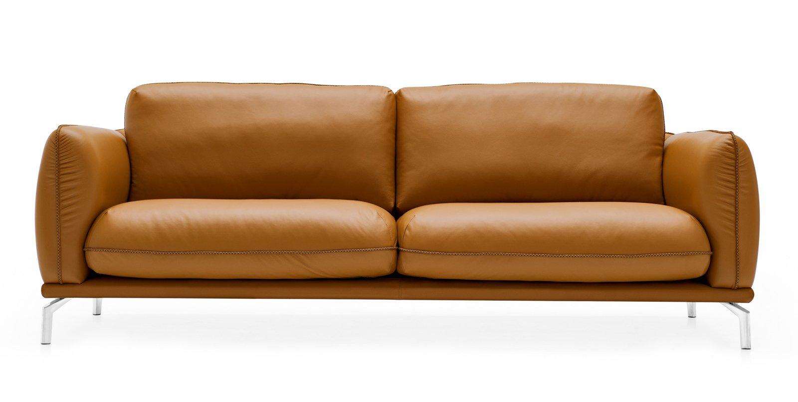 il divano taylor di calligaris a due posti maxi con rivestimento in pelle emotion