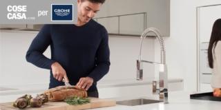 Cucina: un nuovo miscelatore dal design cubico e dal getto professionale