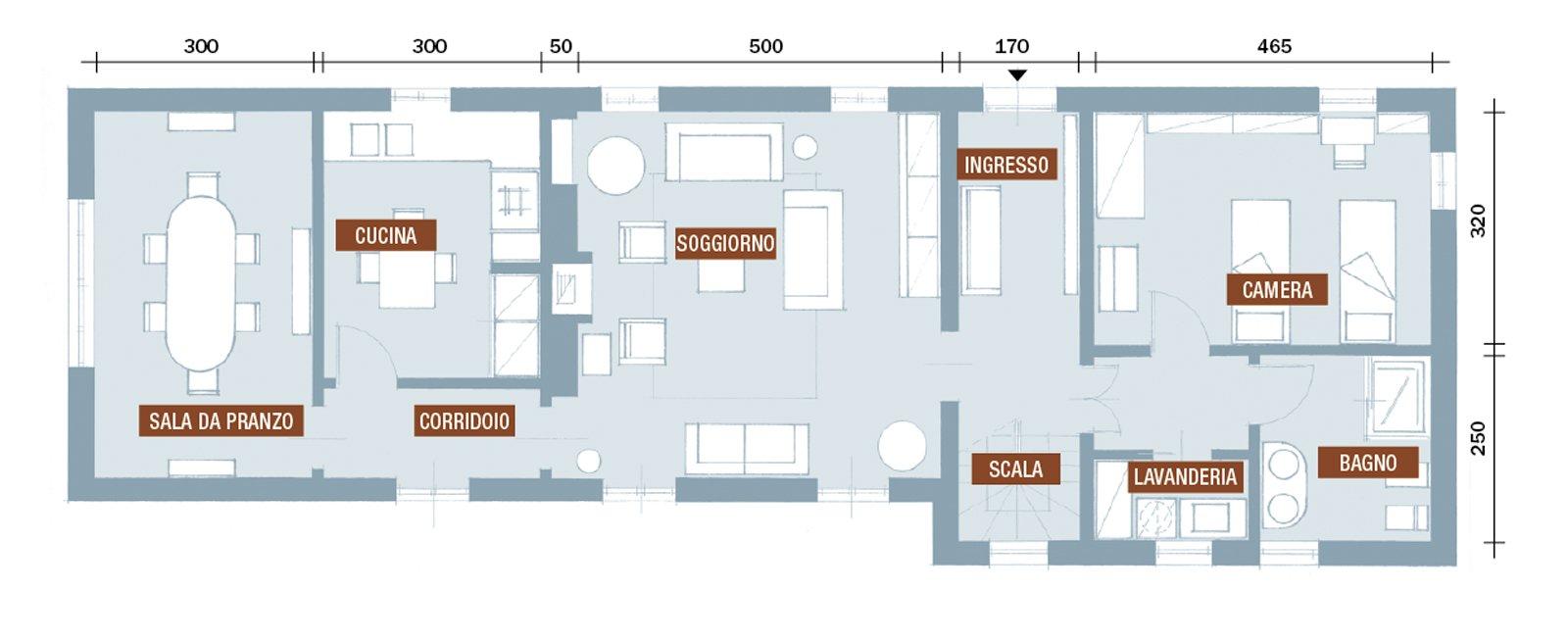 Da cascina a casa chic con travi a vista e soffitti for Pianta del piano casa di 800 piedi quadrati