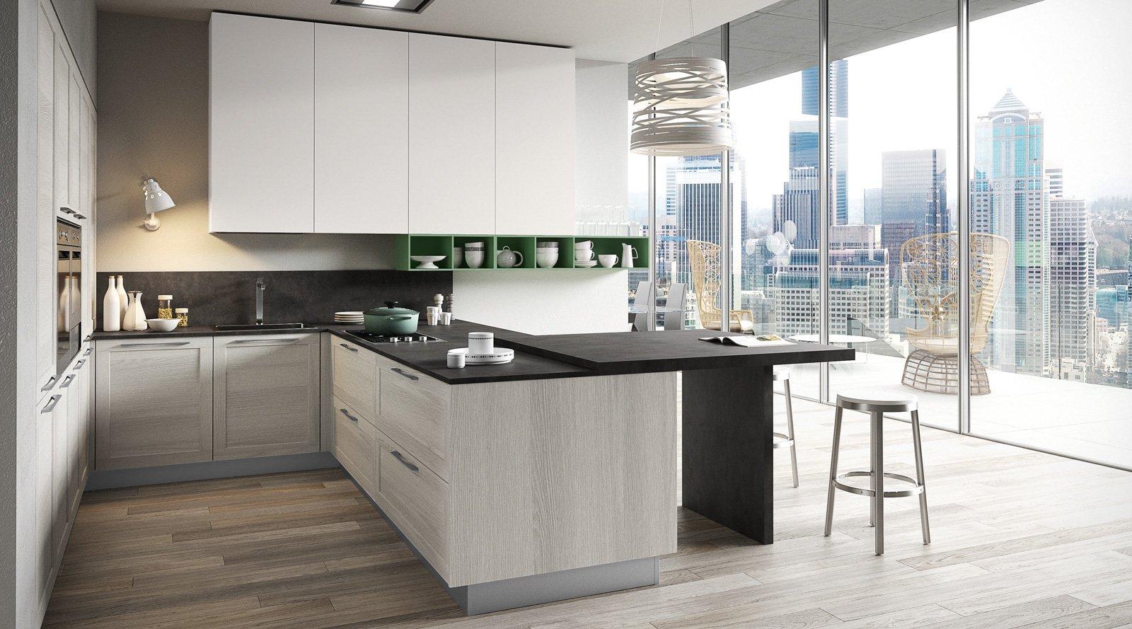 Cucine con piani in contrasto cose di casa for Piani di casa rustici con soppalco