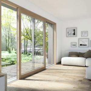 HS330, alzante scorrevole in legno-alluminio, la soluzione più elegante per il massimo isolamento