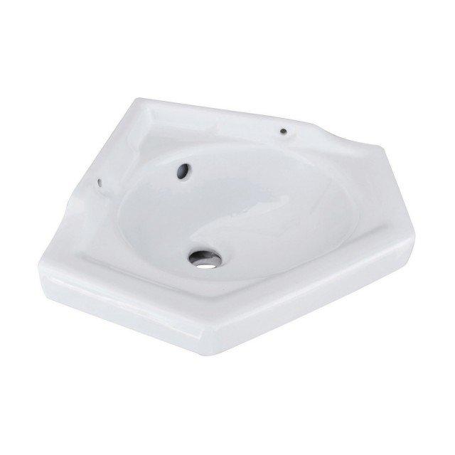 Previsto per installazione a terra con colonna, il lavabo ad angolo monoforo di Leroy Merlin è in ceramica bianca con troppopieno. Misura L 51 x P 42 cm. Prezzo 65 euro. www.leroymerlin.it
