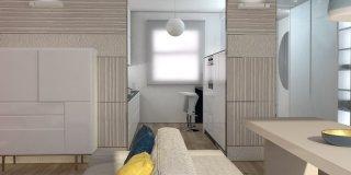 Cucina a vista o separata dal soggiorno? Progetto salvaspazio in 3D