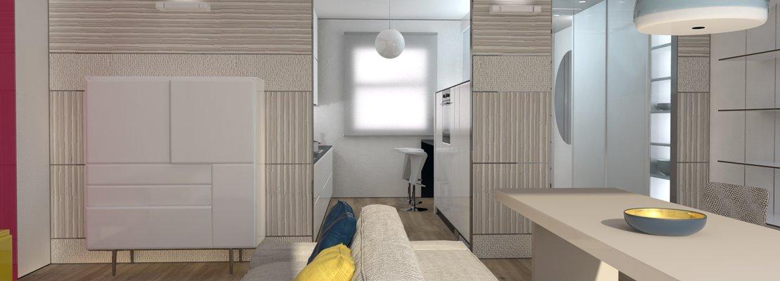 aarredare corridoio idee davvero speciali : Cucina a vista o separata dal soggiorno? Progetto salvaspazio in 3D ...