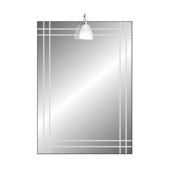 Ha motivi a intreccio lo specchio rettangolare di Leroy Merlin in vetro molato, dotato di faretto. Misura L 60 x H 80 cm. Prezzo, compresa lampadina, 75,50 euro. www.leroymerlin.it