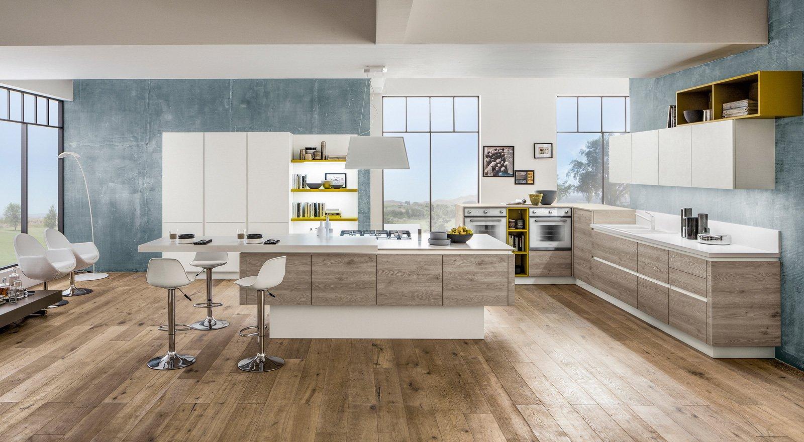 cucine con elementi colorati mensole vani a giorno profili cose di casa. Black Bedroom Furniture Sets. Home Design Ideas