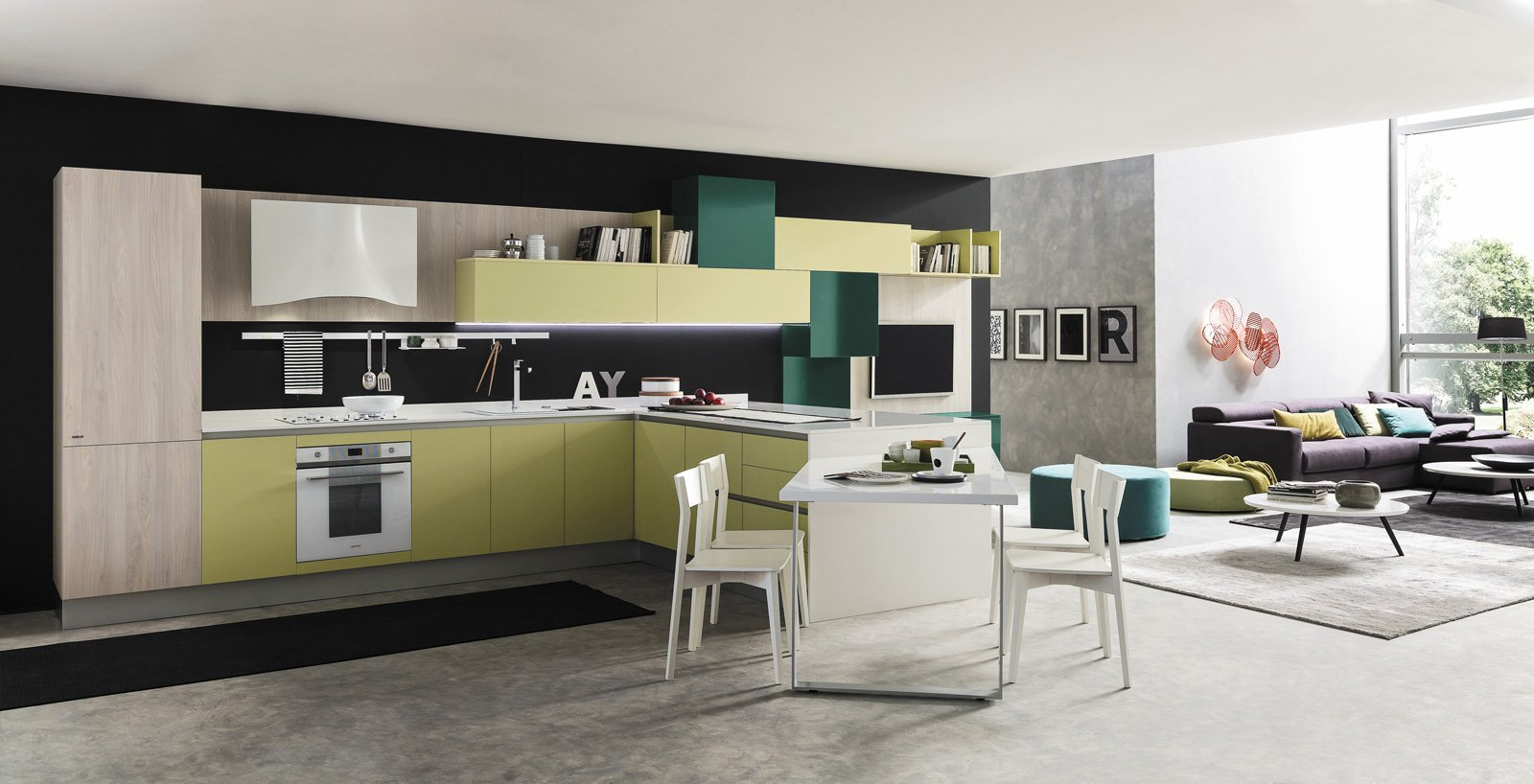 Cucine in colori ed essenze soft cose di casa for Cucina moderna usata roma