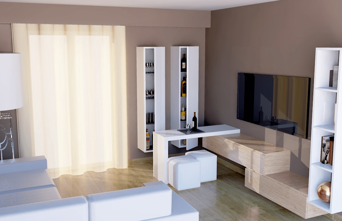 Progetti nel soggiorno un angolo bar contemporaneo for Progetti di casa sollevati