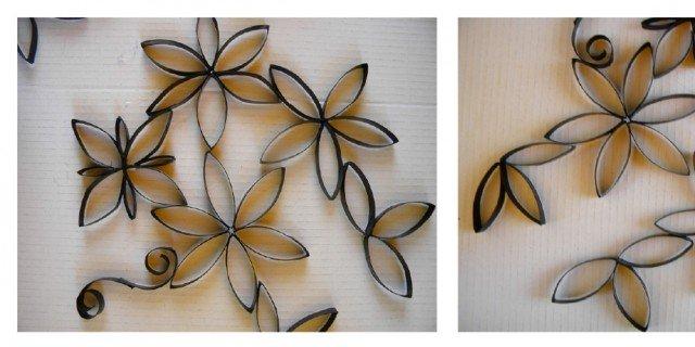 Fiori di carta riciclata per decorare la parete