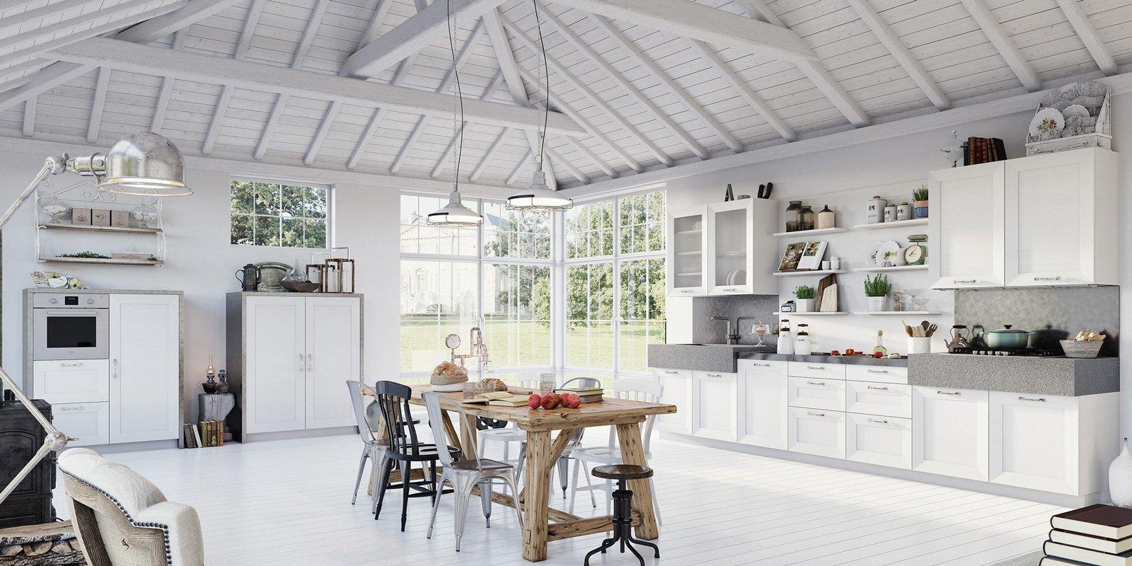 Cucine in legno tradizionali country o moderne cose di casa - Cucina country bianca ...