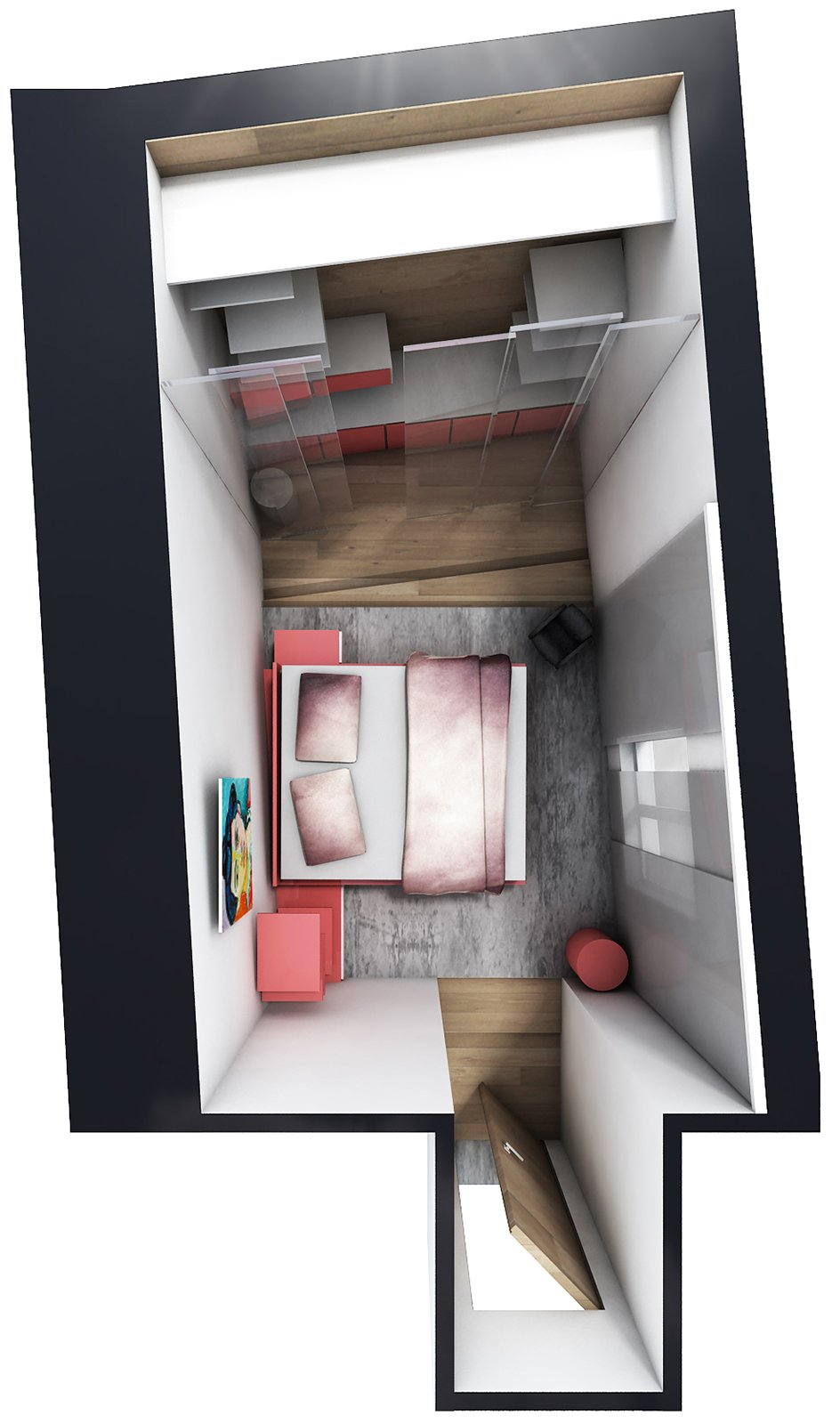 Camera irregolare lunga e stretta come la arredo cose for Camera letto stretta e lunga