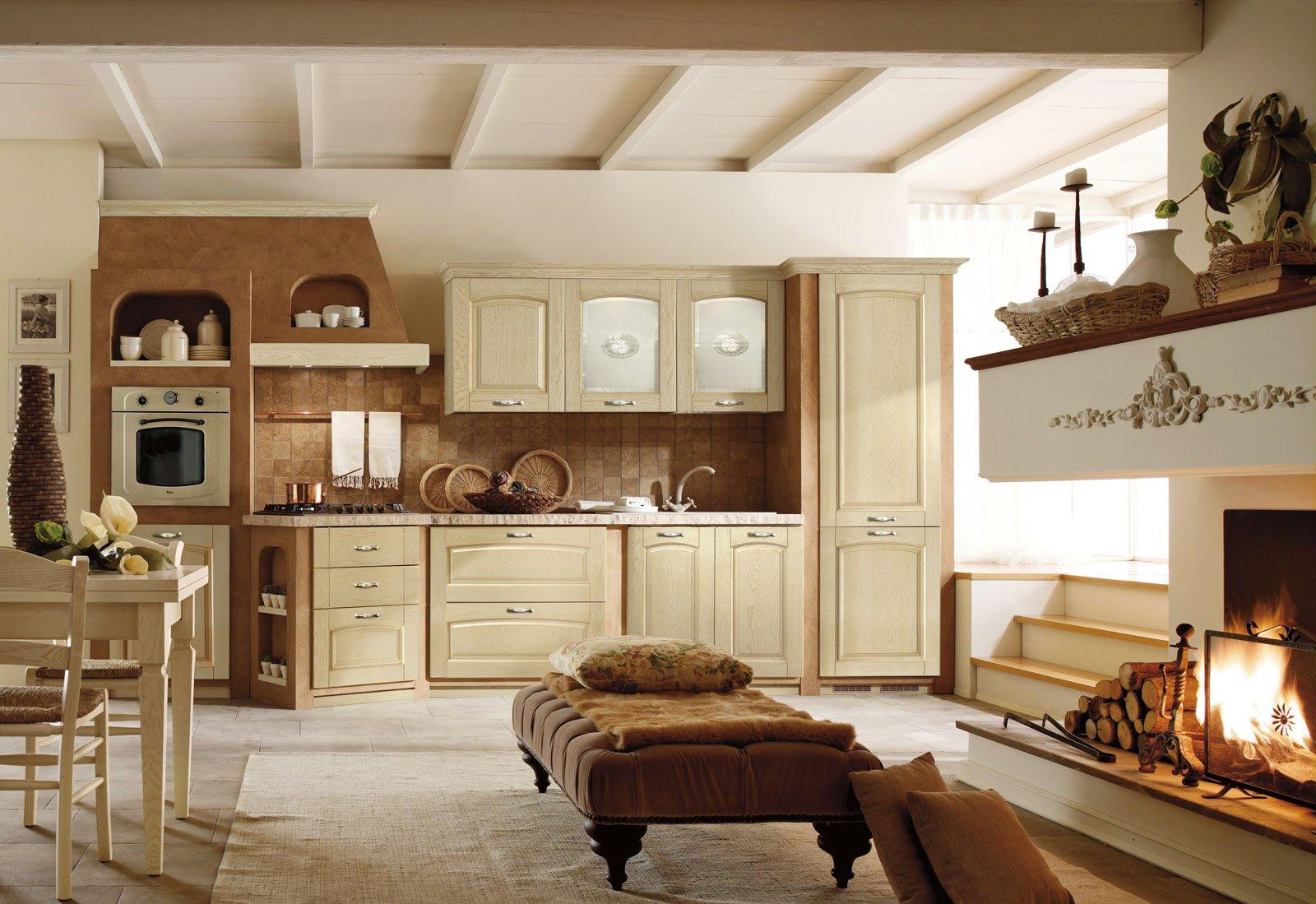 Cucine effetto muratura vera o finta cose di casa - Cappa cucina in muratura ...
