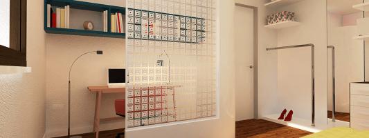 Ricavare lo studio in camera creando un angolo separato. Un progetto in 3D