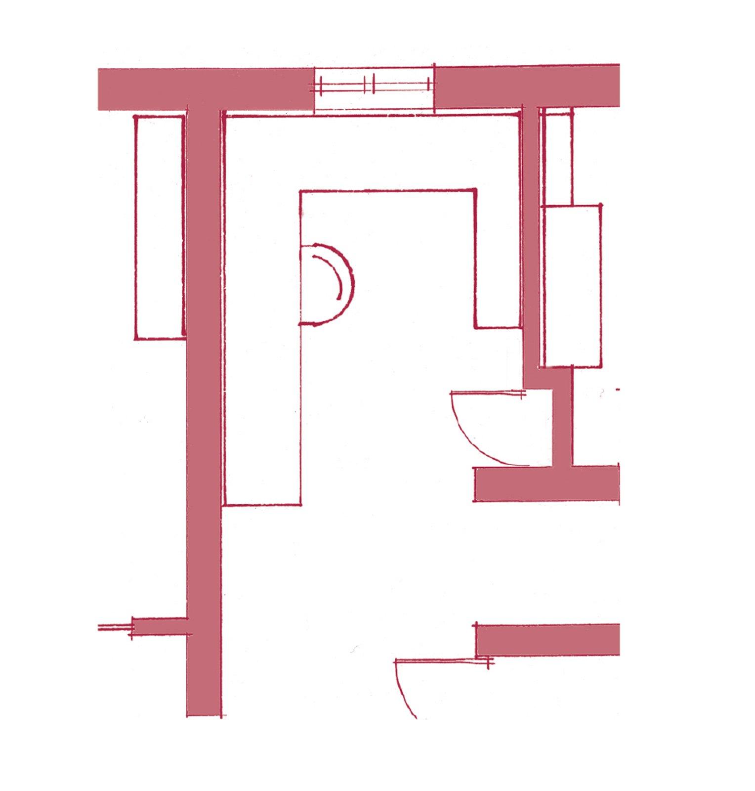 All'ingresso dello studio, chiudendo la nicchia esistente con un'anta a battente, è stato ricavato  un armadio-ripostiglio, profondo circa 30 cm, utile  per riporre (e nascondere) gli strumenti di lavoro.