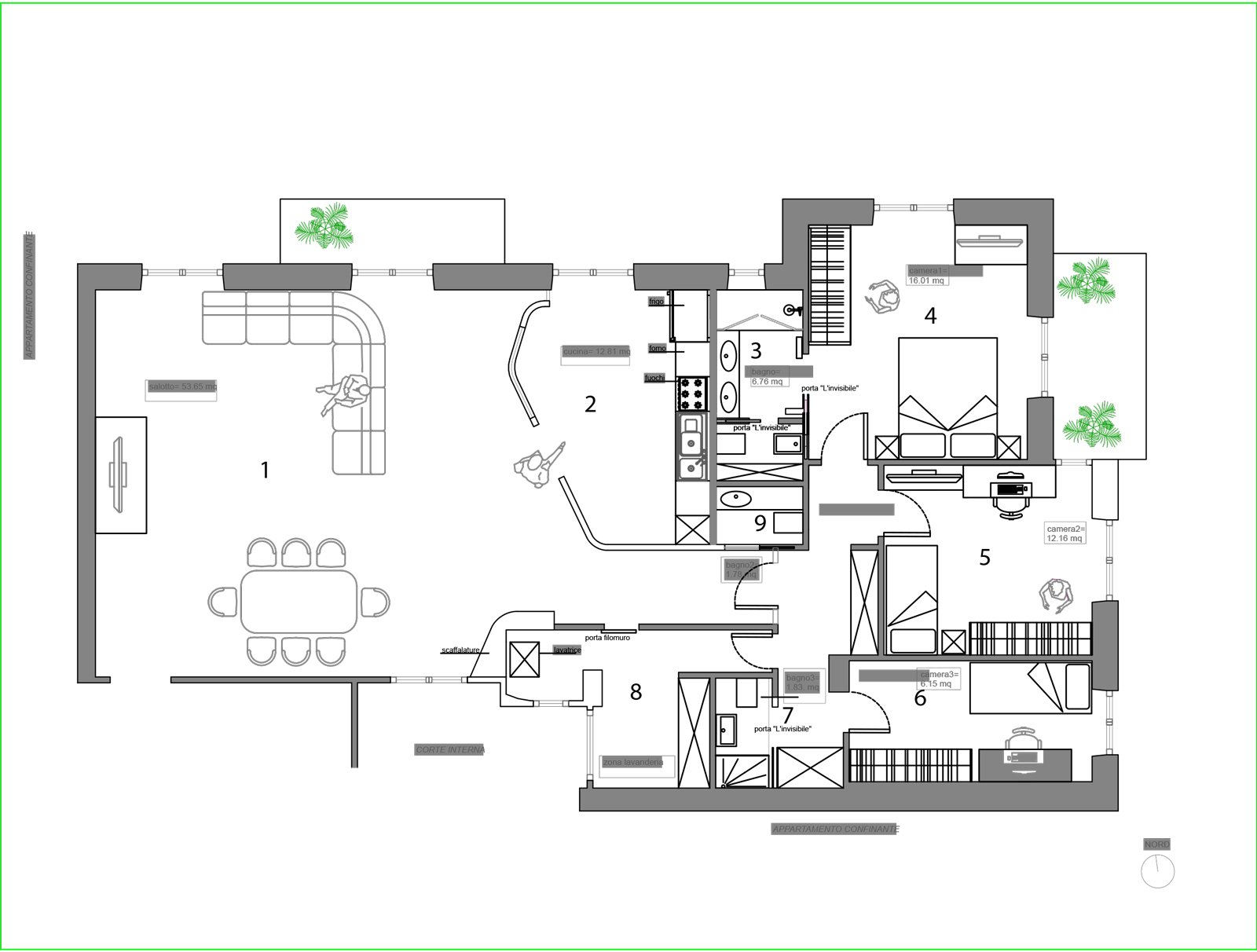 Una casa con spazi meglio organizzati e due bagni in pi for Planimetrie con stanze segrete
