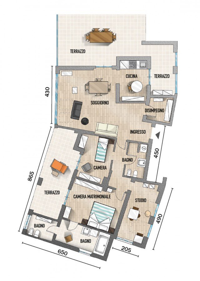 90 mq ambienti moltiplicati nell 39 attico con vista mare for Planimetrie della casa minuscola con due camere da letto