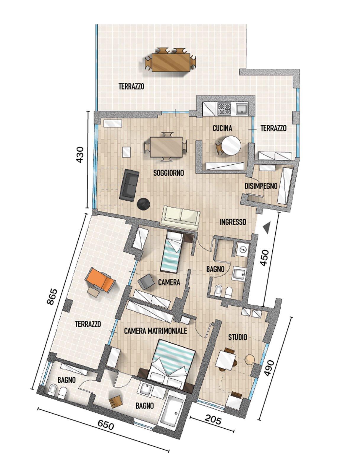 90 mq ambienti moltiplicati nell 39 attico con vista mare for Planimetrie di case galleggianti