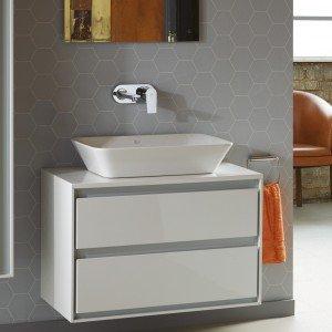 Lavabo da appoggio Connect AIR 60 cm abbinato a mobile sottolavabo a due cassetti bianco + grigio matt. Miscelatore a parete Ceramix.