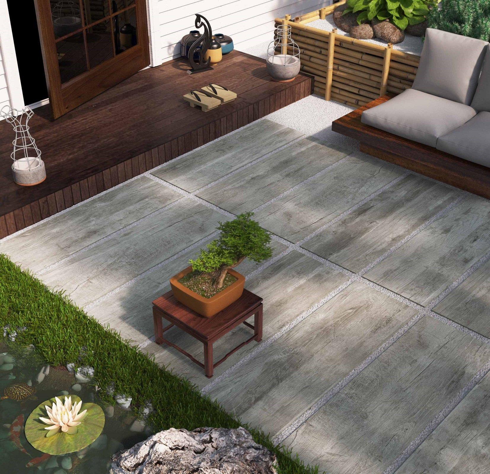 Pavimenti per l esterno effetto legno e pietra cose di casa - Piastrelle di cemento da esterno ...
