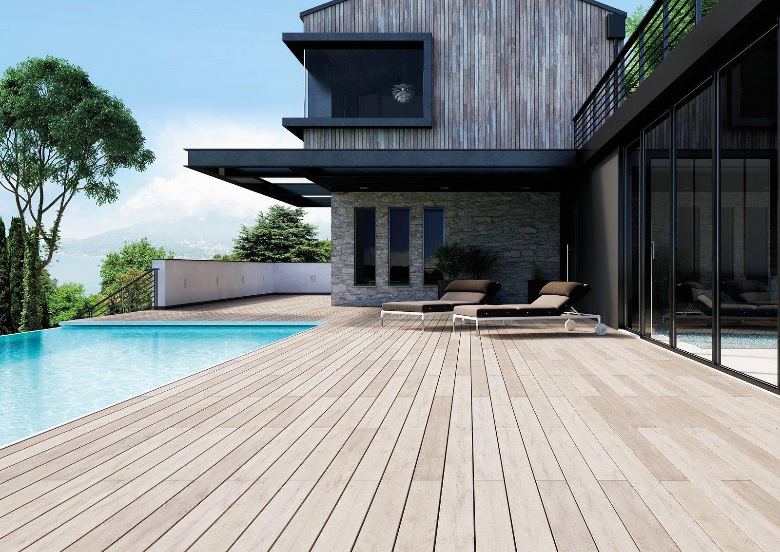 Pavimenti Per Terrazzi Esterni pavimenti per l'esterno, effetto legno e pietra in gres