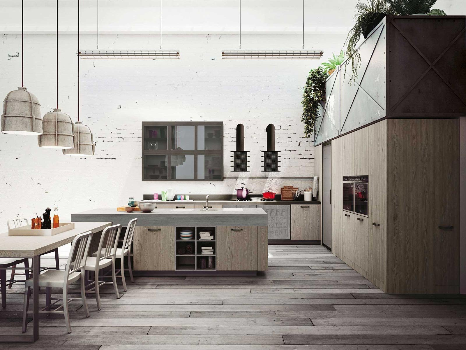 kitchen loft design with Cucine Industrial Style Loft Di Snaidero 46785 on Pia De Banheiro De Luxo moreover Mountain Modern Home Martis C in addition Remodelled Rooftop Apartment In New York furthermore Cucina Con Soffitto Basso 8283 also 10 Inspirations Pour Une Cuisine Industrielle 1171193.