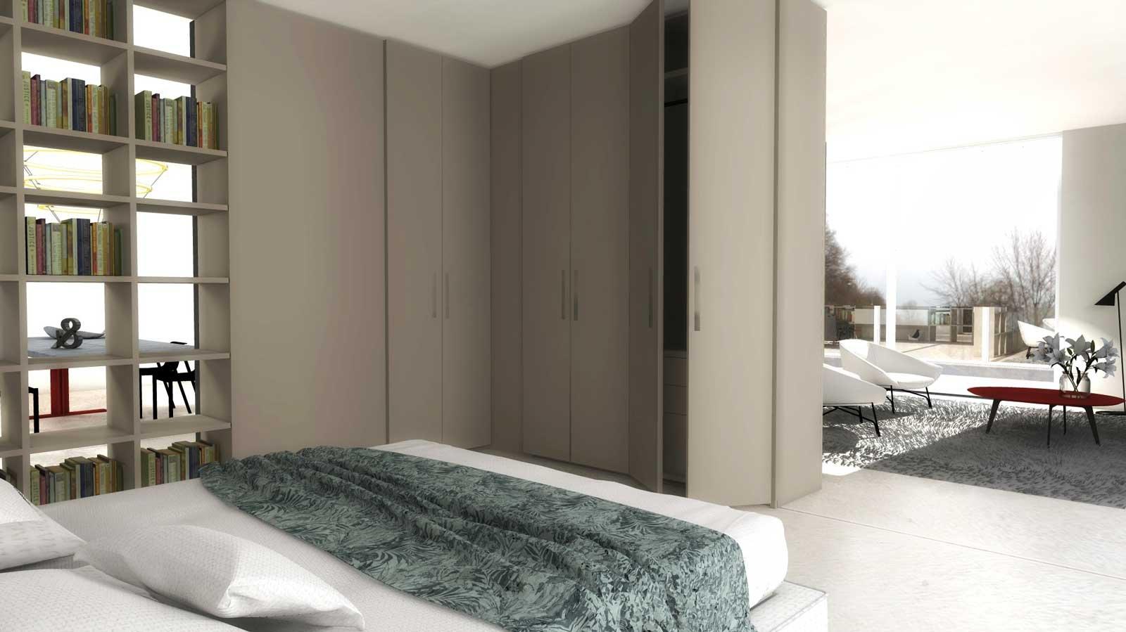 Dividere con i mobili bifacciali senza pareti progetto for Piani di casa pensione 2 camere da letto
