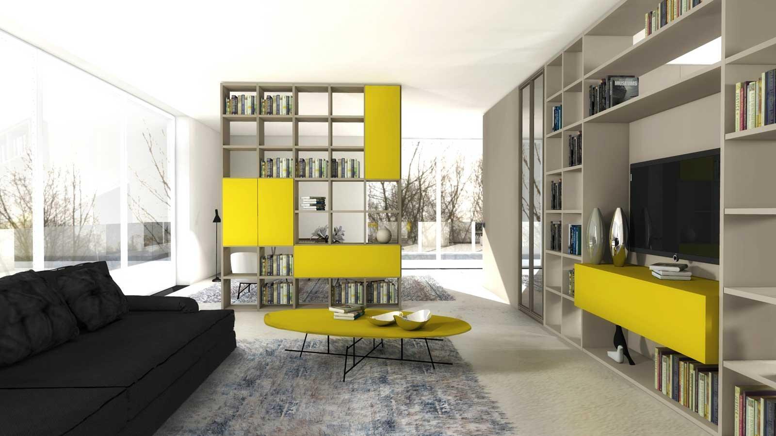 Dividere con i mobili bifacciali senza pareti progetto in 3d cose di casa for Pareti attrezzate immagini