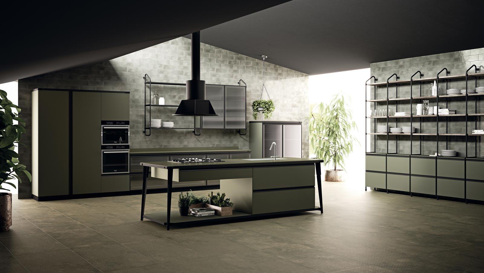 Diesel Open Workshop Per Scavolini è Il Nuovo Modello Presentato A  #737B50 1600 902 Cucina Stile Classico Moderno