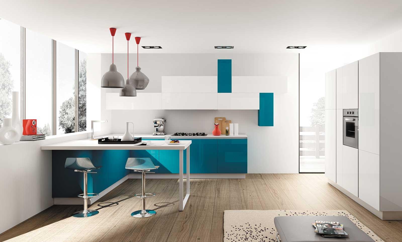 Cucine con la penisola un elemento che divide ma - Cucine moderne bicolore ...