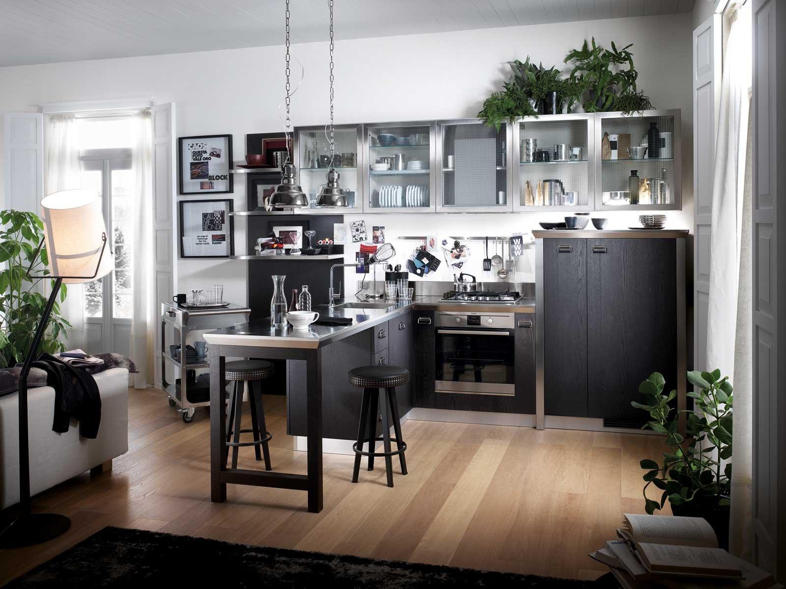 diesel social kitchen di scavolini una cucina ad angolo con penisola aperta sul living