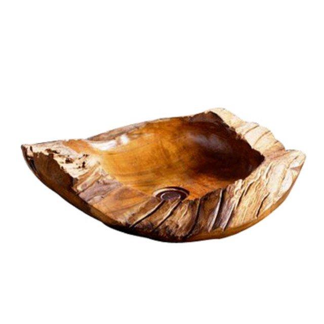 È in legno il lavabo da appoggio di forma asimmetrica Batik quercia di Leroy Merlin. Con uno spessore di 8 mm misura L 40 x P 10 x H 15 cm. Prezzo 265,50 euro. www.leroymerlin.it