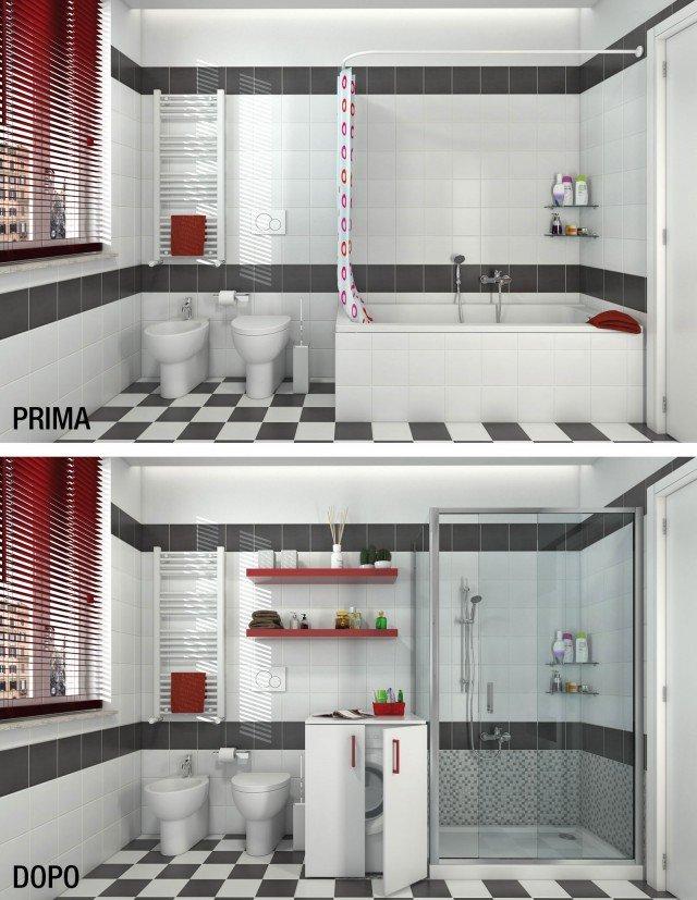 Bagno trasformare la vasca in doccia cose di casa - Portabiancheria leroy merlin ...