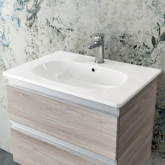Lavabo top Tesi da 60cm con mobile sottolavabo nella finitura legno chiaro. Miscelatore Ceramix.