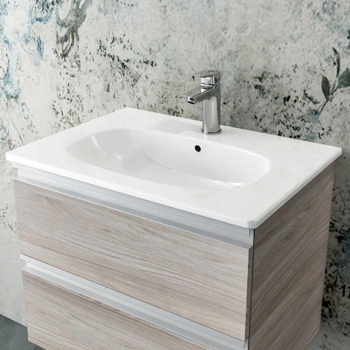lavabo top tesi da 60 cm con mobile sottolavabo nella finitura legno chiaro miscelatore ceramix